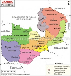 Mongu and Kalabo are in the purple area of this map