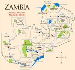 This is a map of Zambia.